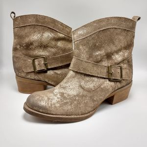 Naughty Monkey Distressed Gold Ankle Booties NWOB